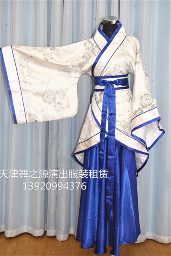 白上衣蓝裙女汉服8