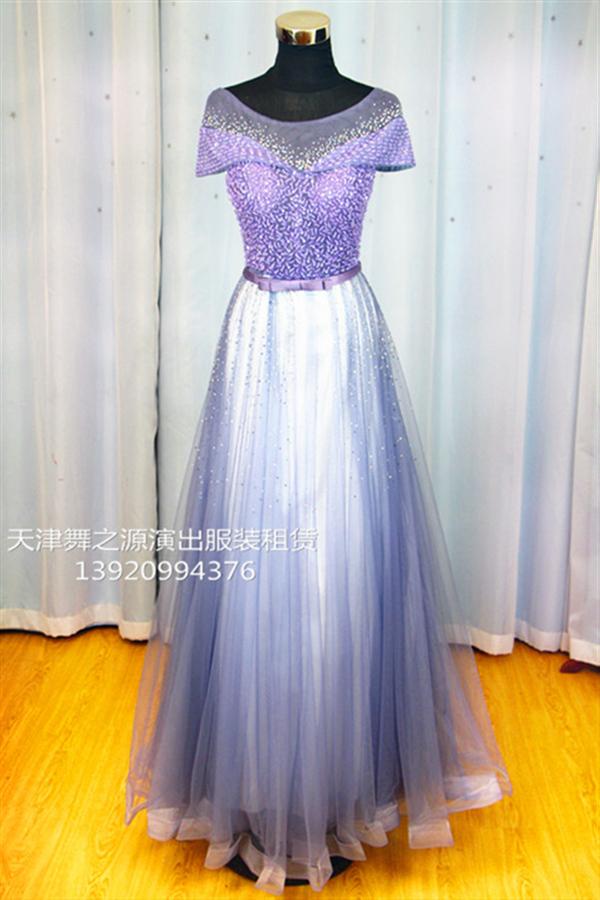 浅紫色手工钻礼服