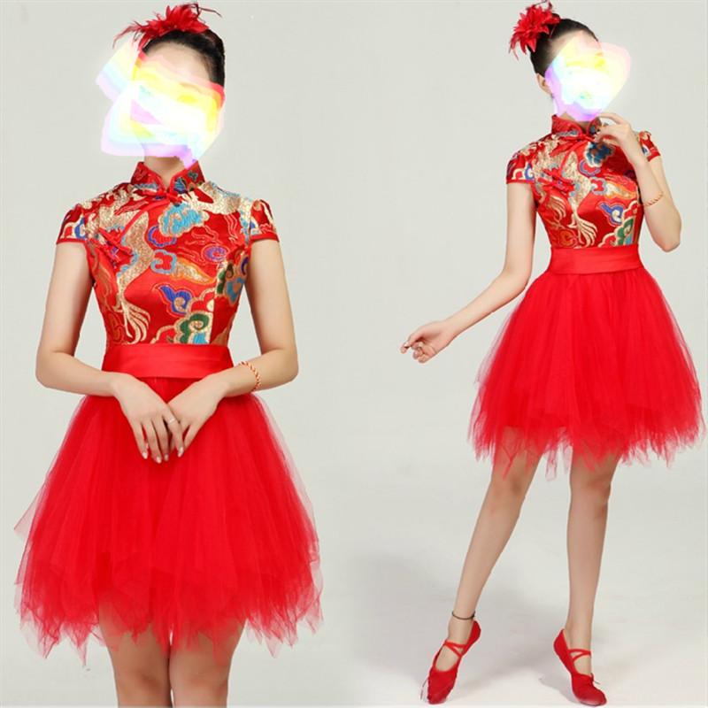 红色蓬蓬裙旗袍