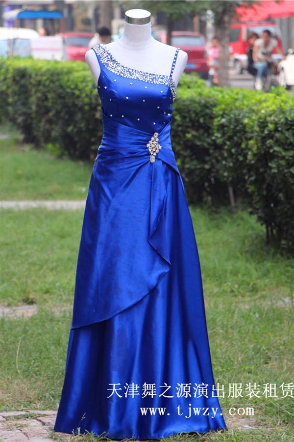 宝蓝色礼仪长礼服