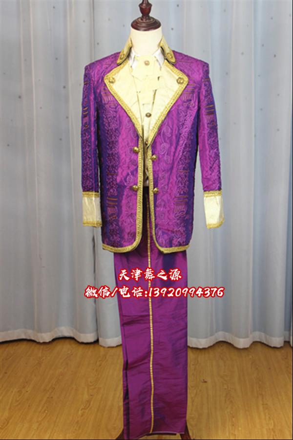 深紫色翻领欧式男装