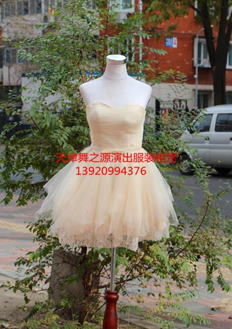 米色网纱小礼服